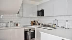 Full-sized fridge, microwave, oven, electric kettle