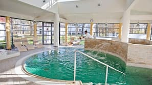 Indoor pool, open 3:00 PM to 10:00 PM, pool loungers