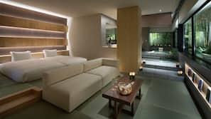 Premium bedding, down comforters, in-room safe, soundproofing