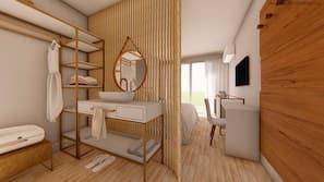 Cofres nos quartos, individualmente decorados, escrivaninha