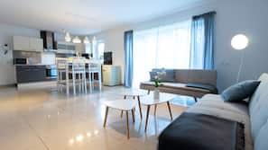 LED TV, heated floors
