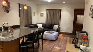 4 bedrooms, memory foam beds, iron/ironing board, Internet