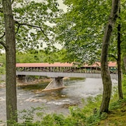 Stay On The Saco River Next To A Covered Bridge