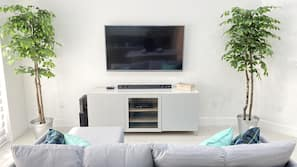 TV, video-game console, DVD player, foosball