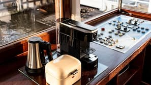 Mini-fridge, coffee/tea maker, electric kettle