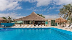 Outdoor pool, open 8:30 AM to 9:00 PM, pool umbrellas, sun loungers