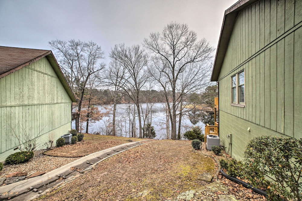Exterior, Renovated Lakefront Escape w/ Private Dock + Deck!