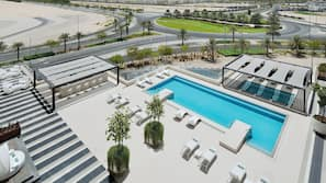 Outdoor pool, open 8:00 AM to 8:00 PM, pool cabanas (surcharge)