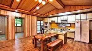 Full-size fridge, microwave, stovetop, rice cooker