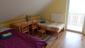 Blackout drapes, iron/ironing board, free cribs/infant beds