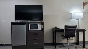 Desk, laptop workspace, blackout drapes, soundproofing