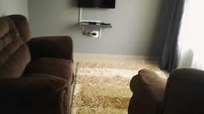 32-inch flat-screen TV with satellite channels, TV