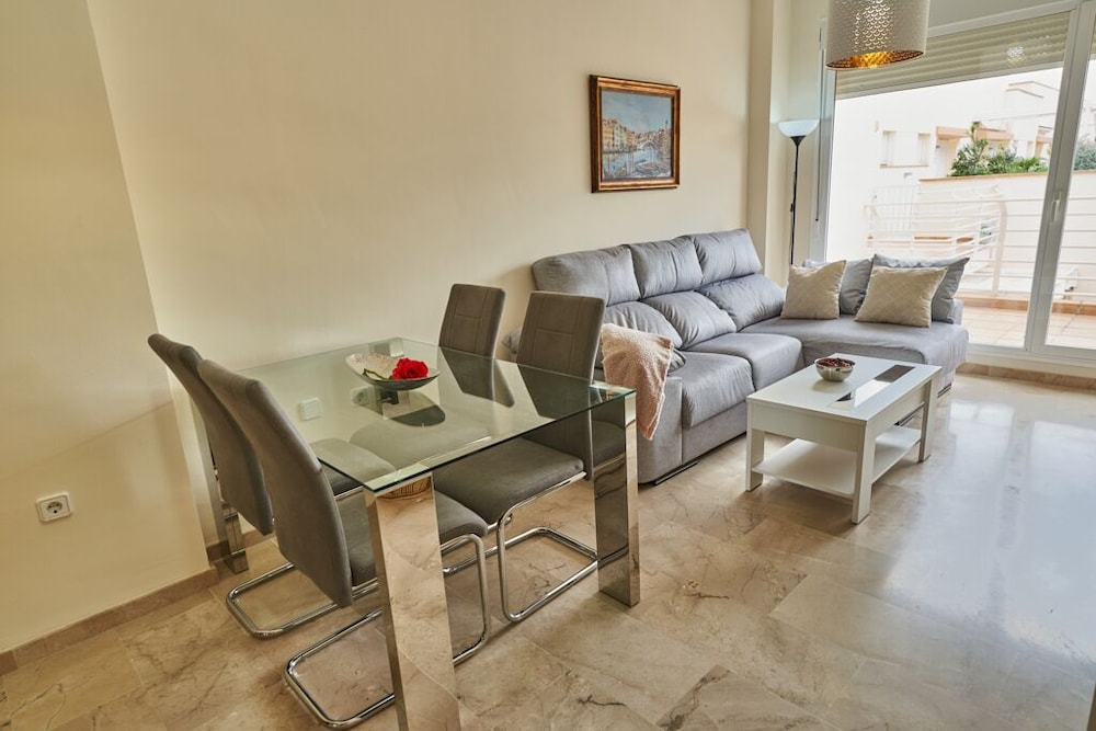 Living Room, Beachfront Apartment, With Pool and Urban Areas. Zarati