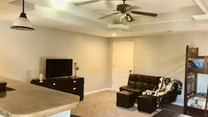 Smart TV, DVD player, video library, stereo