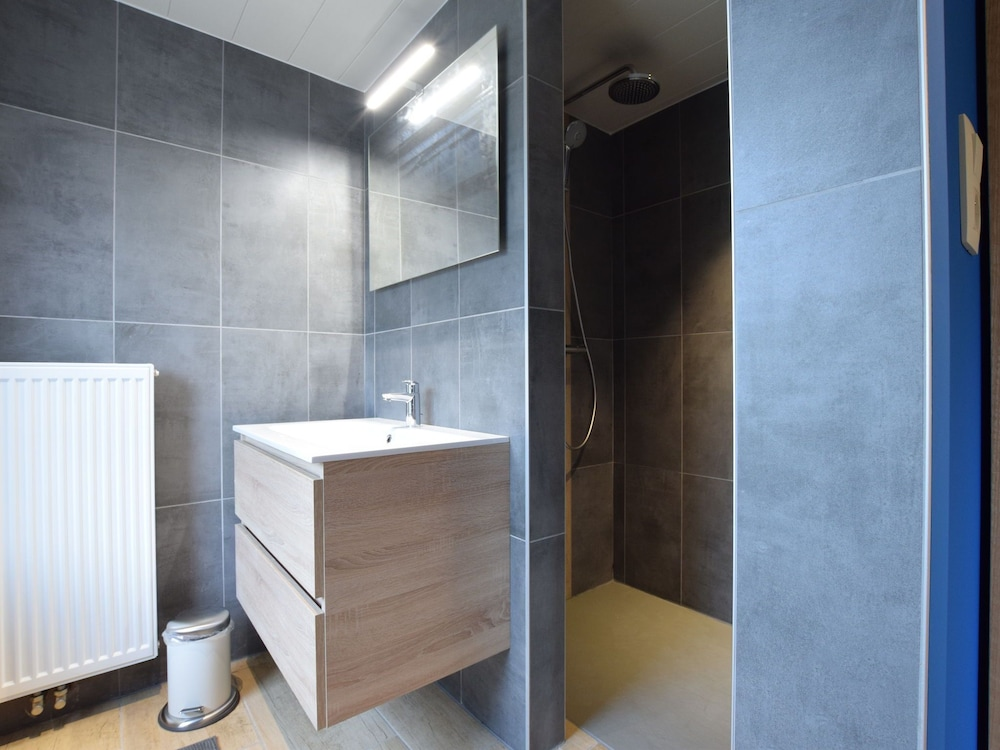 Bathroom, Chic Holiday Home in Noville With Sauna