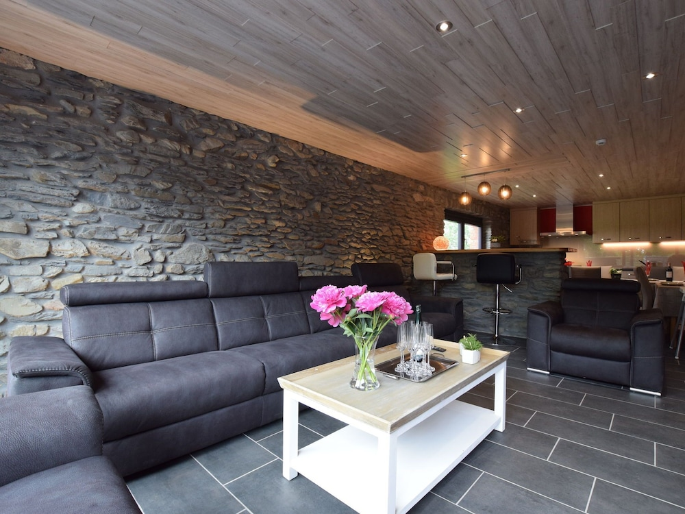 Living Room, Chic Holiday Home in Noville With Sauna