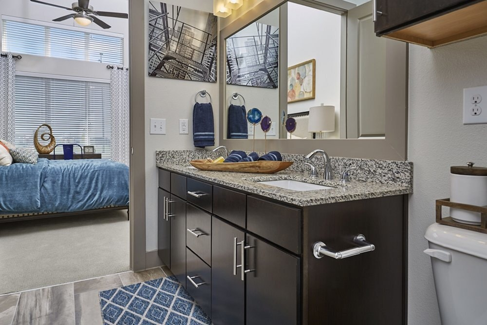 Bathroom, Downtown River Apartments by Barsala
