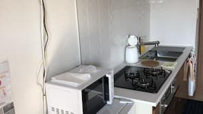 Mini-fridge, microwave, rice cooker, cookware/dishes/utensils