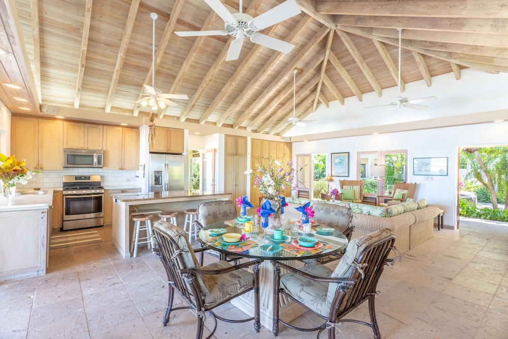 Private Kitchen, Sea Fans - 4 BR Beachfront Villa on Spectacular Mahoe Bay