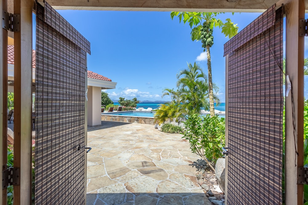 Balcony, Sea Fans - 4 BR Beachfront Villa on Spectacular Mahoe Bay