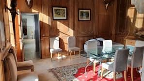 Télévision, cheminée, lecteur de DVD, table de tennis de table