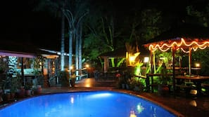 Outdoor pool, open 6:30 AM to 9:30 PM, pool loungers