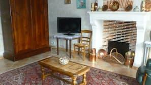Télévision, lecteur de DVD, table de tennis de table, livres