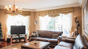 65-inch Smart TV with digital channels, fireplace, Netflix