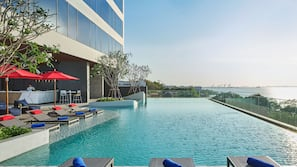 2 outdoor pools, open 7:00 AM to 7:00 PM, free cabanas, pool umbrellas