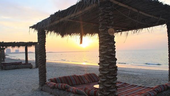 Private beach, white sand, beach bar