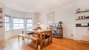 Oven, dishwasher, dining tables