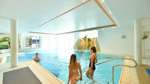Indoor pool, outdoor pool, open 7:00 AM to 9:30 PM, sun loungers