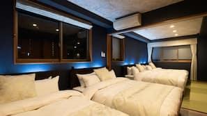 Premium bedding, down comforters, laptop workspace, blackout drapes