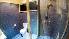 Shower, rainfall showerhead, towels