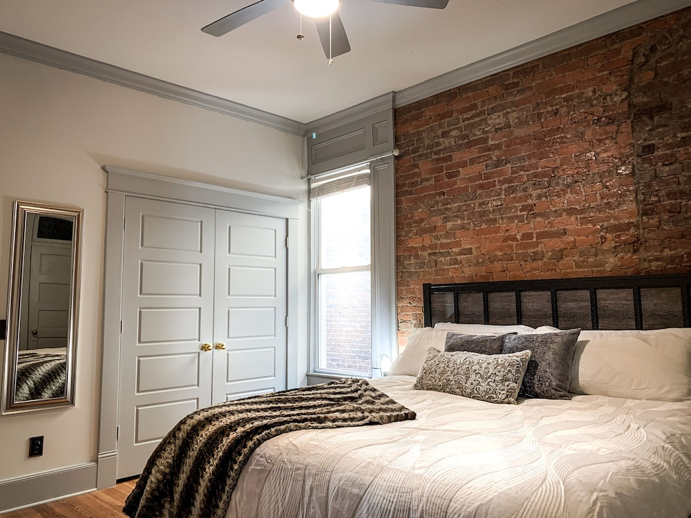 Room, New Kentucky Industrial Bourbon Downtown Loft!