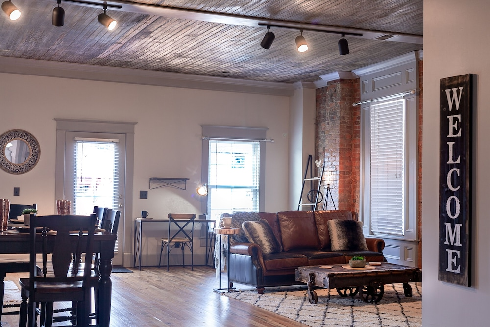 Living Room, New Kentucky Industrial Bourbon Downtown Loft!