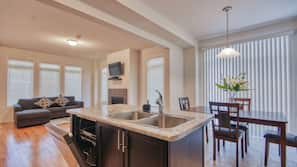 Microwave, dishwasher, cookware/dishes/utensils