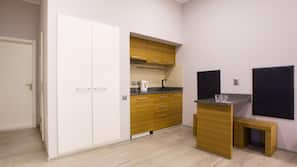Mini-fridge, microwave, stovetop, electric kettle