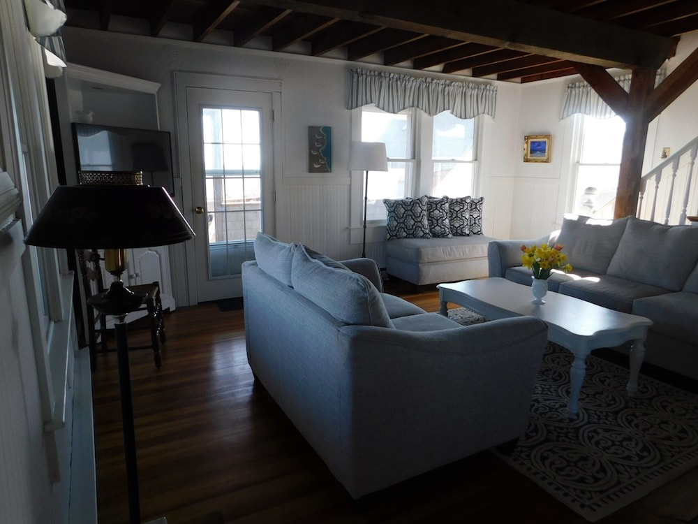 Living Room, Quintessential Remodeled Oceanfront Beach Cottage