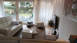 Een televisie en een open haard
