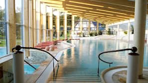 Indoor pool, outdoor pool, sun loungers