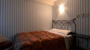 Down duvets, memory-foam beds, desk, iron/ironing board