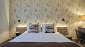 Hypo-allergenic bedding, individually decorated, desk