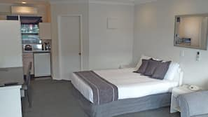Premium bedding, desk, iron/ironing board, linens