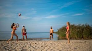 Private beach, sun loungers, beach towels, windsurfing