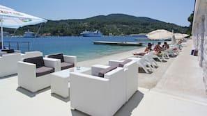 Beach nearby, free beach shuttle, sun loungers
