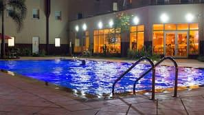 Outdoor pool, pool umbrellas