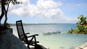 Private beach, beach cabanas, beach towels, scuba diving