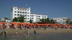 Beach nearby, sun-loungers, beach umbrellas, waterskiing