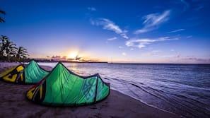 On the beach, free beach cabanas, sun-loungers, beach umbrellas